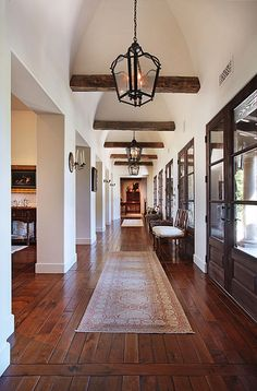 dark ceiling beams against white walls, doors, floors. beams added for just the right touch! Dark Ceiling, Ceiling Beams, Tall Ceilings, Hallway Ceiling, Ceiling Color, Floor Ceiling, Modern Ceiling, Ceiling Design, Ceiling Lights
