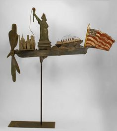 American Folk Art Whirligig of the Statue of Liberty, NYC, a Ship and the American Flag.