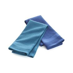 Set of 2 Waffle-Terry Blue Dish Towels    Crate and Barrel