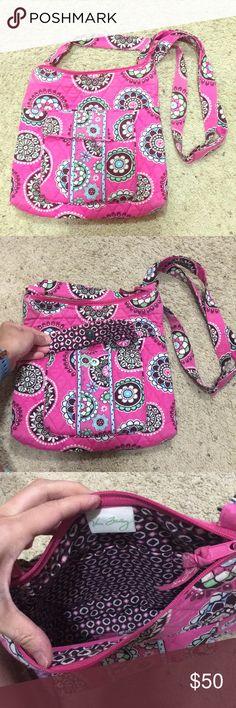 Vera Bradley Cupcake Pink Crossover Bag Super cute and Fun Vera Bradley Crossover bag! Lots of pockets! Great for travel!! Vera Bradley Bags Crossbody Bags