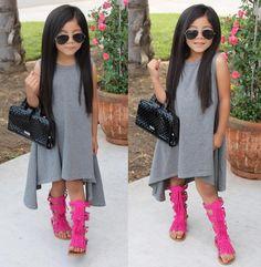 "Material: COTTONStyle: ""European and American StyleDecoration: RufflesSilhouette: AsymmetricalSleeve Length(cm): SleevelessPattern Type: SolidSleeve Style: REGULARDresses Length: Mid-CalfCollar: O-neckBuilt-in Bra: NoDepartment Name: ChildrenGender: Girls Wedding Dresses For Kids, Little Girl Outfits, Little Girl Fashion, Little Girl Dresses, Toddler Outfits, Kids Outfits, Girls Dresses, Fall Fashion Outfits, Kids Fashion"
