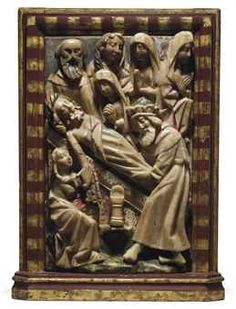 A RECTANGULAR PARCEL-GILT POLYCHROME CARVED ALABASTER RELIEF OF THE ENTOMBMENT | NOTTINGHAM, EARLY 16TH CENTURY | Sculptures, Statues & Figures, frieze/relief | Christie's