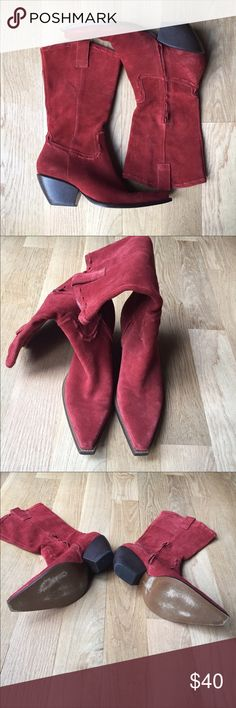 BCBGGirls Suede Cowboy Boots Excellent condition small blemish in Suede on heel see last photo has been repaired. Priced to sell. The color is a rusty brick red!! So fun BCBGirls Shoes Heeled Boots