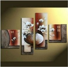 Wieco Art Large Size Decorative Elegant Flowers 4 Panels Hand-painted Modern Contemporary Artwork Floral Oil Paintings on Canvas Wall Art for Home Decorations Wall Decor L >>> Learn more by visiting the image link. (This is an affiliate link) Contemporary Artwork, Modern Wall Art, Large Wall Art, Modern Contemporary, Large Canvas, Modern Decor, Large Painting, Oil Painting Abstract, Abstract Art