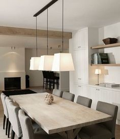 Modern with a farmhouse feel! yaass! #diningroom #interiors #interiordesign #farmhousestyle #ceilingbeams #lighting #styleinspiration #modayvibes #house #homedesign #instadesign