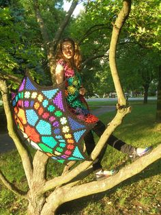 Enchanted Stained Glass Granny Square Umbrella #crochet #umbrella #parasol #rainbow