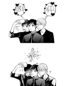 Pichit x Yuri x Victor Artist: あさか (credit the artist if you repost this) Yuri Plisetsky, Yuri On Ice, Katsuki Yuri, Victor Nikiforov, Familia Anime, Otaku, ユーリ!!! On Ice, Image Manga, Ice Skating