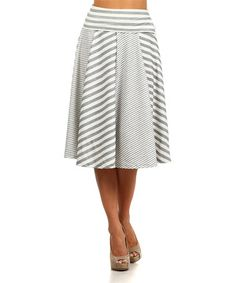 Loving this Gray & White Stripe A-Line Skirt - Women on #zulily! #zulilyfinds