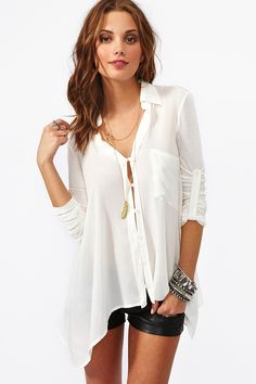 Draped Pocket Blouse in Ivory