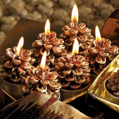 Pinecone Tealight Candles
