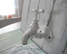 tap hook bathroom hook clothing hook shabby chic coat hook faucet hook WHITE distressed cottage style - vintage style decor by ShabbyRoad on Etsy Shabby Chic Coat Hooks, Clothes Hooks, Good Neighbor, Towel Hooks, Cottage Style, Bathroom Hooks, Rustic Decor, Faucet, Door Handles