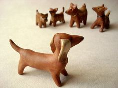 Mini Dachshund Dog Clay Sculpture by Iktomi on Etsy