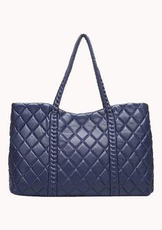 Stefani Lambskin Leather Tote - Blue