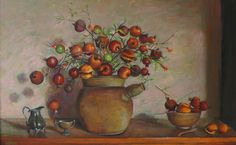 Still life with pomegranates- Margaret Olley 1984 Australian Painting, Australian Artists, Arthur Boyd, Still Life Flowers, Fruit Painting, Beautiful Paintings, Paintings For Sale, Pomegranates, Illustration Art