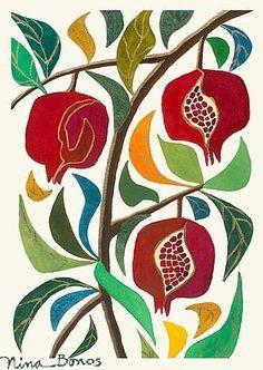 Florals Pomegranate Trio giclée print by Nina Bonos also a beautiful quilt idea Beth Jewish Crafts, Jewish Art, Arte Judaica, Pomegranate Art, Grenade, Arte Floral, Gravure, Art Plastique, Art Inspo