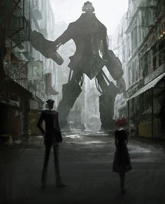 Giant robot in a blurry black and white street