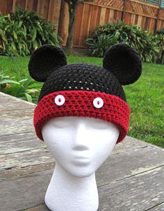 Pattern Mickey Mouse Stripe Crochet Beanie PDF Pattern - fun to make for Disneyland Disneyworld trip - beanie, earflap, braids, ties. $3.99, via Etsy.