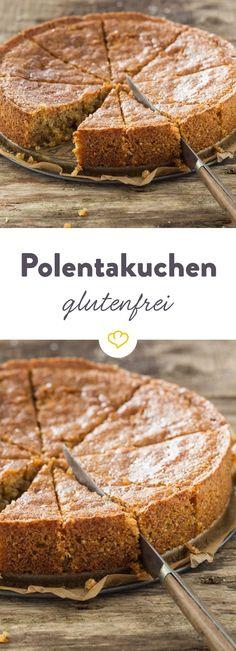 Polenta und gemahlene Mandeln bilden die Basis für den glutenfreien Rührteig des zitronigen, herrlich saftigen Kuchens. Wer braucht da noch Weizenmehl?