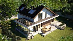 PROIECT CASĂ MICĂ CU MANSARDĂ | House Design Modern Exterior House Designs, A Frame Cabin, Villa Design, Design Case, House In The Woods, Home Fashion, House Plans, Mansions, House Styles
