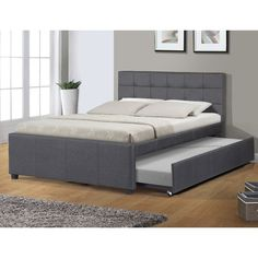 Best Quality Furniture Full Upholstered Panel Bed with Twin Trundle Bed (dark grey - woven fabric finish - Fabric - Full) Full Platform Bed, Upholstered Platform Bed, Upholstered Full Bed, Platform Beds, Quality Furniture, Bedroom Furniture, Pine Furniture, Urban Furniture, Furniture Outlet