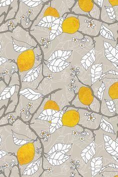 Lemon tree illustration on fabric, wallpaper, or gift wrap - The Lemon Orchard by Nouveau Bohemian in beige, gray, and lemon yellow.