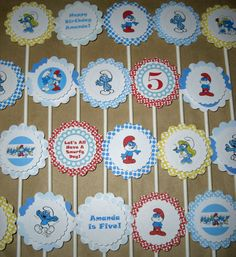 Smurfs Birthday Cupcake Toppers