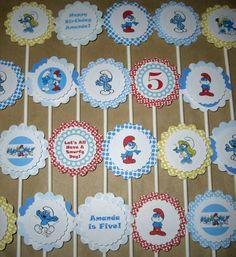 Smurfs Birthday Cupcake Toppers