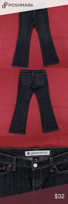 "Sexy Boot Cut Jeans Size 4A Dark Denim ExcellentCondition! No flaws. Size 4A.  Measurementslying flat: Waist ? 15.5"", Hips ? 19"", Inseam - 29"", FrontRise ? 8"", Back Rise ? 14"".  Please,review pictures. You will get the item shown. Smoke & pet free home. GAP Jeans Boot Cut"