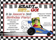 Race Car Themed Birthday Party Invitation Idea