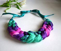 necklace spit made of natural silk batik  OOAK . от batikelena