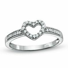 Zales 1/10 CT. T.w. Diamond Triple Heart Promise Ring in Sterling Silver sam7aHi