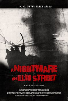 """A Nightmare on Elm Street - Wes Craven 1984 -- """"When her best friend Tina is brutally murdered, Nancy suspects the killer isn't Tina's boyfriend but rather a much more horrifying figure from her dreams. Convinced that this murderer is stalking her friends & killing them as they sleep, Nancy enters a desperate race against time to bring him out of her dream world & stop the bloodbath before she falls asleep & becomes his next victim."""""""