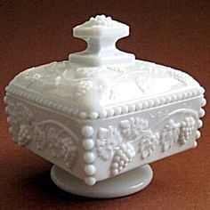 Beaded Grape Milk Glass Honey Dish, Westmoreland Glass