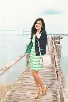 Jacket by Dorothy Williams, dress and shoes by Lilly Pulitzer, bag by Kate Spade. (March 17, 2013)