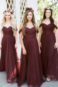 These burgundy bridesmaids dresses are perfect for a fall wedding