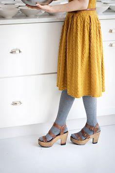 mustard knit dress