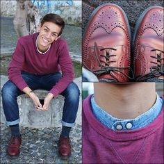 My bordeaux outfit!! Dr martens and Korean-shirt!!