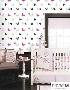 Kelebekli duvar kağıdı çocuk ve bebek odası duvar kağıdı