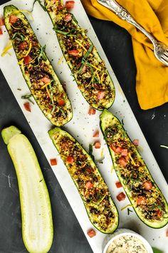 ... Stuffed Zucchini With Sicilian Herbs and Basil Lemon Tahini Sauce