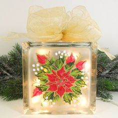 Lighted Glass Block Red Poin... from PaintingByElaine on Wanelo