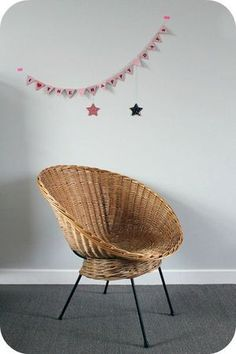 fauteuil coquille osier, 60's Rattan Armchair, Decoration, Wicker, Folk, Chairs, Interiors, Kids, Inspiration, Furniture
