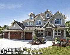 Plan Storybook House Plan With 4 Car Garage - Dream House Dream House Plans, House Floor Plans, My Dream Home, Dream Homes, 5 Bedroom House Plans, Br House, Garage House, 5 Car Garage, Garage Doors