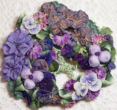 ribbon worked flowers and leaves