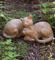 Sleeping Cats Statue. Wood Like, Carved Appearance. Constructed Of Resin A  · Outdoor StatuesOutdoor CatsGarden ...
