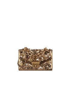 flapbag, crackled metallic effect lambskin, stone embroideries & gold metal-gold - CHANEL
