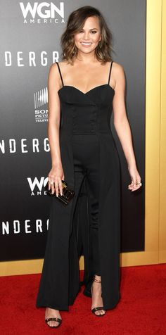 Look of the Day - Chrissy Teigen from InStyle.com black jumpsuit