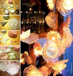 ¨°o.O Guirlande Fleurs Cupcakes O.o°¨  Jolie guirlande lumineuse décorée de fleurs en papier aux couleurs tendres et délicates.    www.creamalice.com