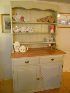 Welsh Dresser given a Shabby Chic makeover,dresser rubbed down painted in Farrow & Ball.distressed and waxed Pine Furniture, Upcycled Furniture, Furniture Projects, Furniture Makeover, Shabby Chic Style, Shabby Chic Decor, China Hutch Makeover, Buffet, Doors And Floors