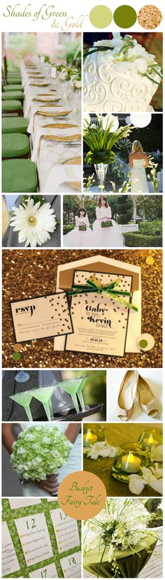 Shades of Green and Gold Wedding Inspiration Board - Budget Fairy Tale