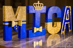 "Royal Blue and Gold Letters, Photo Prop, Centerpiece, 8"" Freestanding Letter, Custom Block Letter, Baby Shower, Royal Prince, 1st Birthday"